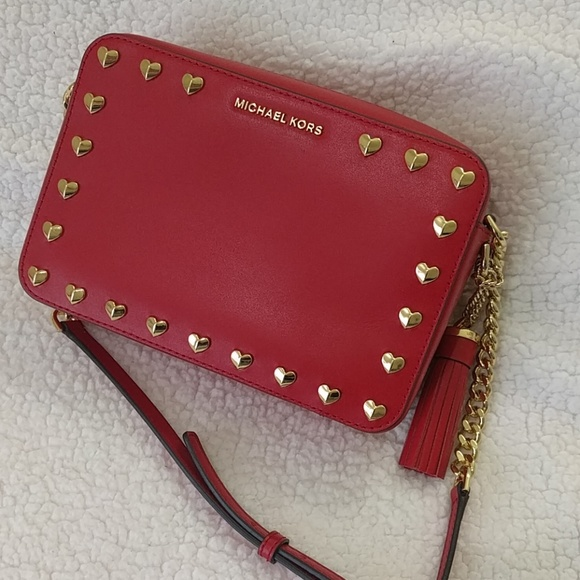 ef93a8c203a6 NWT Michael Kors Ginny Cameral Bag Bright Red